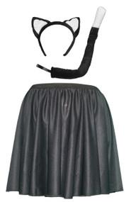 """Womens Black 15"""" Kitty Cat Skater Skirt & Accessory Kit"""