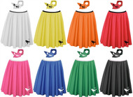 "Ladies' Coloured 22"" Poodle Rock & Roll Skirt & Scarf Sets 1950's 60's Fancy Dress"