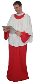 Adults Red Religious Choir or Alter Boy Church Singer Fancy Dress Costume
