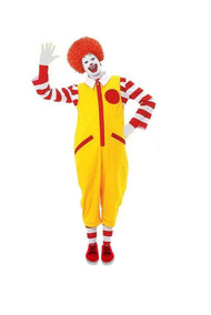 Mens S-XXL Ronald The Fast Food Clown Red & Yellow Fancy Dress Costume Without Shoes