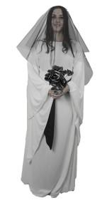Medieval Ghost Bride Halloween Fancy Dress Long White Dress Black Veil