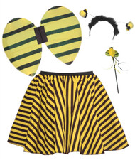 "Girls Age 6-12 Yellow & Black Striped Childrens 15"" Skater Skirt & Bumble Bee Accessory Kit"
