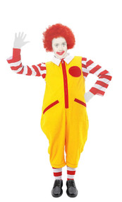 Childs Age 10-12 Ronald Clown McDonald Costume Kids Fast Food Fancy Dress