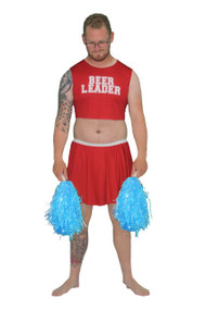 Mens Red Beer Leader Skirt & Top - Fancy Dress Funny Stag Party Costume