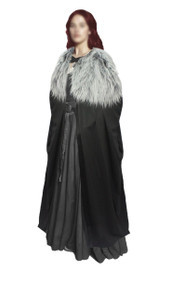 "Ladies 60"" Sansa Stark Cape with Dyre Wolf Faux Fur Collar Thrones Cosplay Fancy Dress"