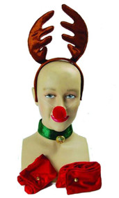 Miss Ruldolf Reindeer Fancy Dress Set Christmas Hat Unisex  Party Antlers Panto