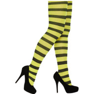 Ladies Best Dressed Stripey Black & Yellow Halloween One Size Fancy Dress Tights