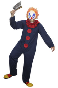 Freaky The Blue & Red Freak Clown Circus Halloween Fancy Dress Costumes