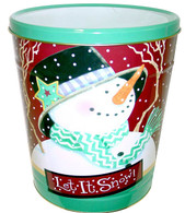 Let It Snow design Popcorn tin |  MAINSTREET FUDGE AND POPCORN Co in Berlin, Ohio