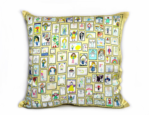 "Our ""Embrace the Angel"" 100% silk satin pillow cover is filled with 99 colorful Angels contributed by Angel Artists from around the world. Measuring 16"" x 16"", it is soft, buttery, and sumptuous!"