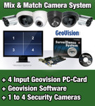 1 to 4 Security Camera System with 4 Input Geovision PC-DVR Card and Software