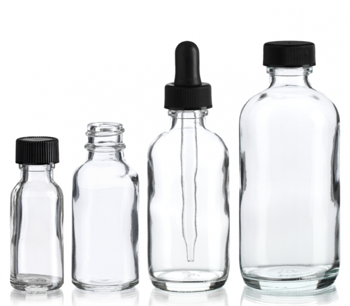 Group of Clear Boston Round Bottle