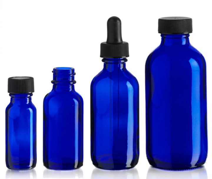 Group of Cobalt Blue Boston Round Bottle