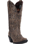 LAREDO WOMEN'S SNIP TOE BLACK/BROWN DISTRESSED LEATHER BOOT - STYLE #52050