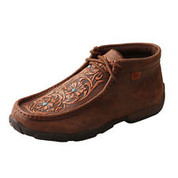 Women's Brown/Tooled Flowers and Turquoise Stones Twisted X Wdm0081