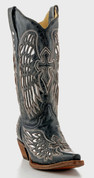 Corral Ladies Fancy Inlay Black Wing and Cross Western Fashion Boots