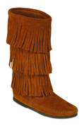 Minnetonka Womens Three Tier Brown Suede Fringe Moccasin