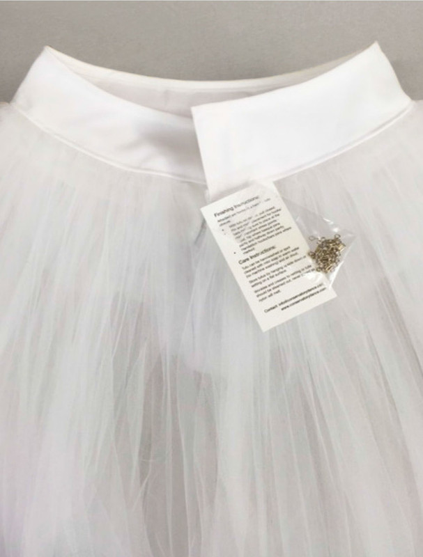 Conservatory C600 rehearsal tutu back view with hooks and eyes