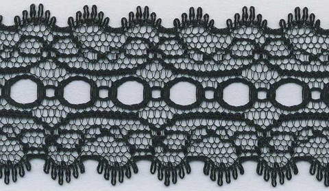 100% Nylon Eyelet Knitting Lace, also called Knitting-in Lace or just Eyelet Lace.  Available in a wide range of Solid and Variegated Colours