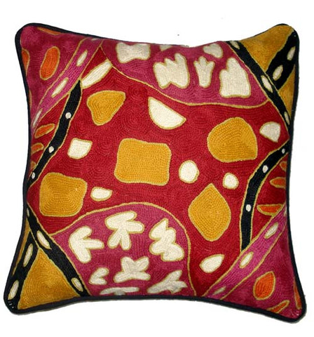 Buy your Sharing Bush Tucker - Cushion Cover woollen pile on thick cotton base By Bridgett Wallace at Bargain Box