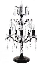 Lyon Antique Black Iron 5 Arm Crystal Lamp