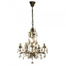 Taupe Chandelier With Glass Drops