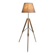 Nickel And Timber Tripod Floor Lamp