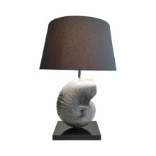 Nickel Nauticulus Lamp With Black Base