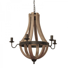 Bella 6 Light Wooden Chandelier