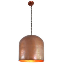 Beaten Copper Dome Pendant Light - Large