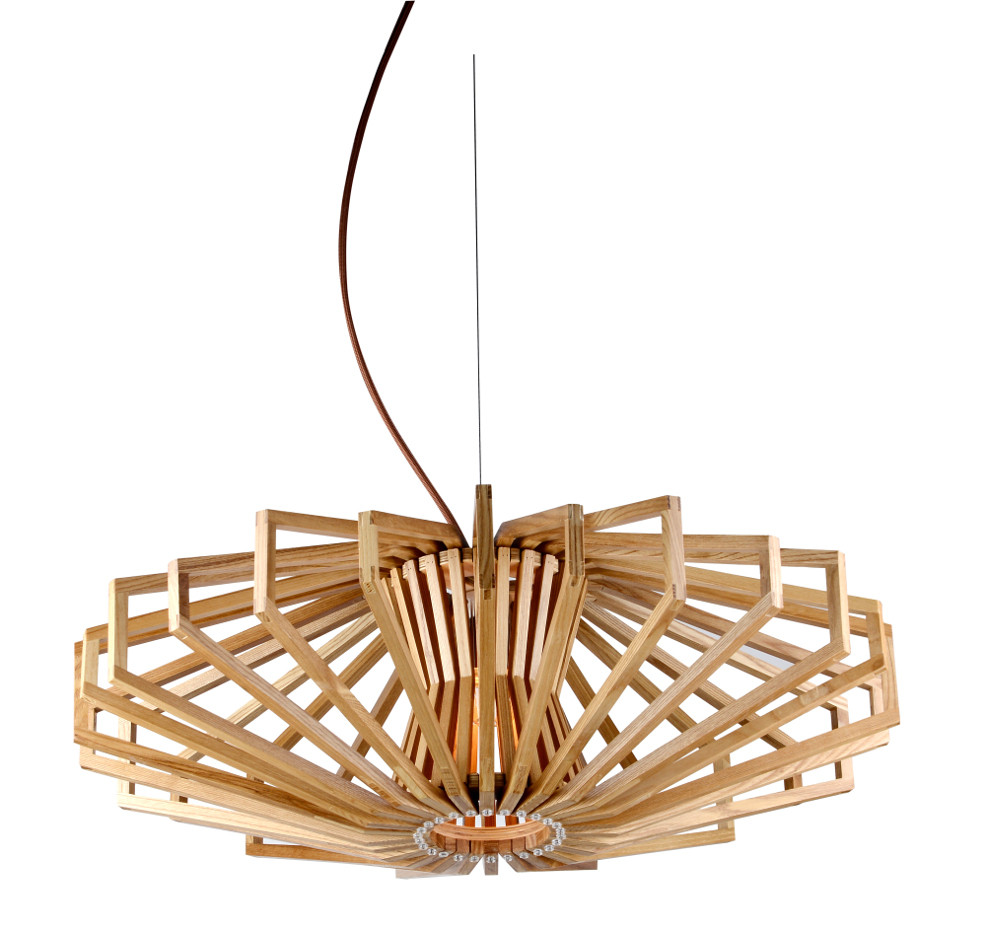 ufo timber wood pendant lamp zest lighting