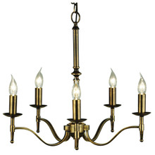Stanford 5 Light Candle Brass Chandelier from Viore Design