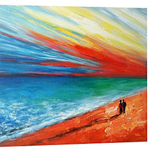 On the beach oil canvas painting
