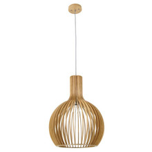 1 Light Timber Veneer Guarin Pendant with 2 Metres Brown Cable