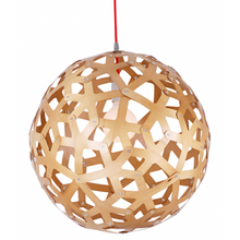 Bach Coral Wood Ball Pendant Light - Zoom in