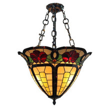 Inverted Trumpet Floral Tiffany Pendant Light