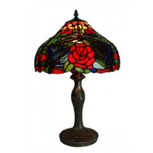 Rose Jungle Art Glass Table Lamp