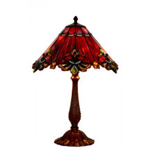 44cm Red Butterfly Art Glass Table Lamp