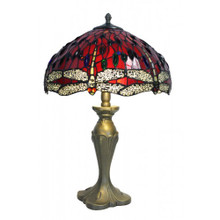 Red Dragonfly Art Glass Table Lamp