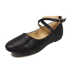 Nova Utopia Toddler Little Girls Flat Shoes - NFGF041 Black Glitter