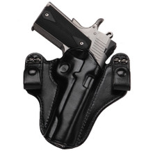 """Our latest inside the waistband holster features Flat-Back construction for all day comfort, a protective flap to prevent the beavertail safety or hammer from rubbing. Designed to comfortably carry full-size pistols and has convenient snap-on belt loops for ease of use.   1 ¾"""" Belt Strap Standard Body Protect Flap for Comfort Forward Cant Hand Boned detail for fit and finish Only Available in Black"""