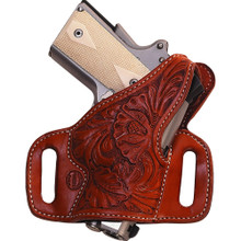 """High Ride slide holster with thumbreak. Flat-Back construction provides the most comfortable all-day ride possible  1 3/4"""" belt slots standard Hand boning standard (stamped and floral holsters will not be boned) Blocked sight channel Available for most Semi-Automatics, Single Actions, and Double Actions."""
