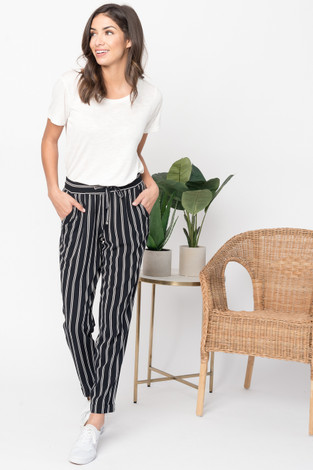 Striped Elastic Waist Pant