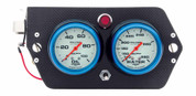 Gauge Panel Assembly - Sprint Panel - Auto Meter Ultra-Nite - Oil Pressure/Water Temp - White Face - 9-Volt Battery - Carbon Fiber Panel - Kit