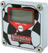 Gauge - Tachometer - QuickTach - 0-15000 RPM - Digital - 3 in Wide x 3 in Tall - Recall - 9V Battery - Waterproof - Aluminum - Black/White - Each