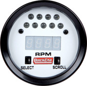 Gauge - Tachometer - Extreme - 0-9990 RPM - Digital - 2-5/8 in Diameter - Recall - Shift Light - White Face - Each