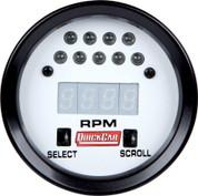 Gauge - Tachometer - Extreme - 0-9990 RPM - Digital - 2-5/8 in Diameter - Recall - Shift Light - White Face - Each