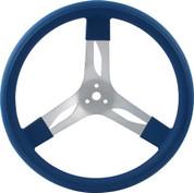Steering Wheel - 17 in Diameter - 3 Spoke - 3 in Dish Depth - Blue Rubber Grip - Aluminum - Natural - Each