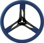 Steering Wheel - 15 in Diameter - 3 Spoke - 3 in Dish Depth - Blue Rubber Grip - Steel - Black - Each