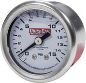 611-9015 - Gauge - Fuel Pressure - Mini - 0-15 psi - Mechanical - Analog - Liquid Filled - 1-1/2 in Diameter - White Face - Each